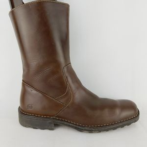 Born men's genuine leather side zip brown boots